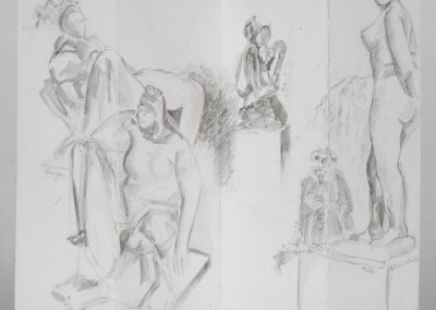 ©2010, Drawing Treasure Hunt in the Hirshhorn Sculpture Garden. Sketch 'n Wash pencil & water, 18 x 12