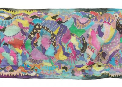 Night & Day Scarf, Painted Silk, 8.5 x 45