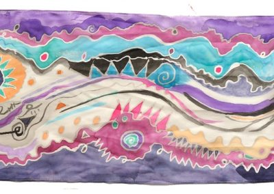 New Day Scarf, Painted Silk, 8 x 50