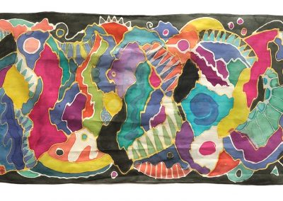 Deep Exploration Scarf, Painted Silk, 7.5 x 42